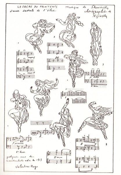 """Танец Избранницы в """"Весне священной"""" (Мария Пильц). Зарисовки Валентины Гюго, создававшей эскизы костюмов к постановке."""