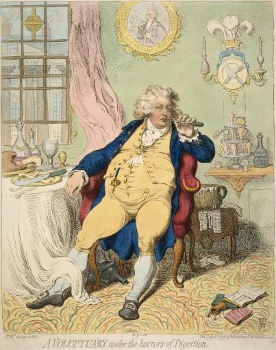"""""""Сластолюбец и ужасы пищеварения"""" (1792). Карикатура Джеймса Гилрея, изображающая принца Уэльского"""
